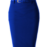 LE3NO Womens Fitted Midi Skirt with Faux Leather Belt
