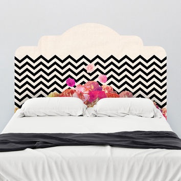 Bianca Green Chevron Flora II Headboard Wall Decal