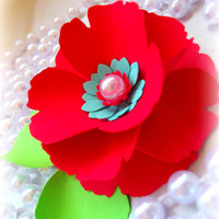 Red and Tiffany blue flower boutonnieres by EverBeautifullyYours