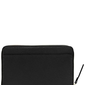 ONETOW Kate Spade Grand Street Leather Zip Around Travel Wallet & Clutch (Black)