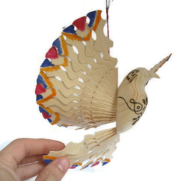 Holy Spirit Dove, Hand Carved Wooden Dove Figurine Decorated with Pyrography, Hanging Mobile Christening Gift, Blue Orange Hand Carved Bird