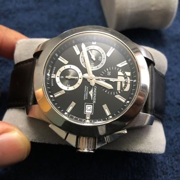 Mens Longines Conquest Automatic Chronograph L3.662.4 Watch with New OEM Band!!!