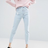 ASOS FARLEIGH High Waist Slim Mom Jeans In Henrietta Wash with Raw Waistband and Raw Hem at asos.com