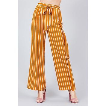 Stripe Print Waist Self Bow Tie Crepe Long Pants ()