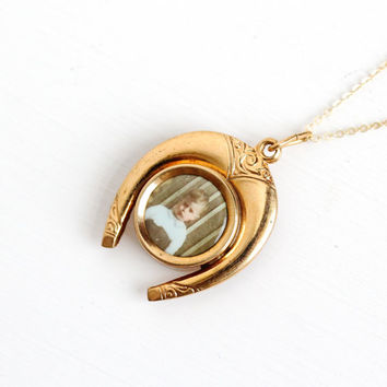 Vintage Art Deco Yellow Gold Filled Photographic Horseshoe Pendant Necklace - 1930s Germany Old Stock Celluloid Boy Photo Good Luck Jewelry