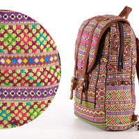 Small Exotic Green Backpack Vintage Traditional Hand Stitched Textile