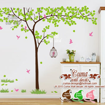 Nature wall decal tree and  birdcage vinyl wall decals birds wall sticker wedding wall decal office- Huge tree Z155 Cuma
