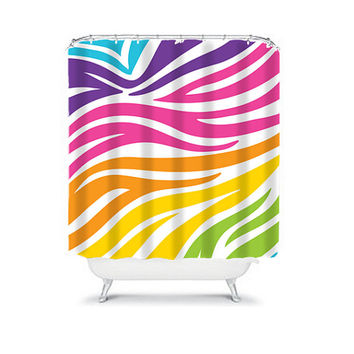 Shower Curtain CUSTOM You Choose Colors Zebra Pattern Rainbow Color Bathroom Bath Polyester Made in the USA