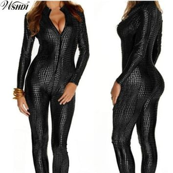 M-XXL 3 Colo Hot Sexy Women Faux Leather Snake Skin Jumpsuit Front Zip Long Sleeve Bodysuit Spandex Catsuit