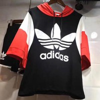 Adidas Fashion Loose Print Hooded Drawstring Short Sleeve Sweatshirts Top Sweater Hoodie