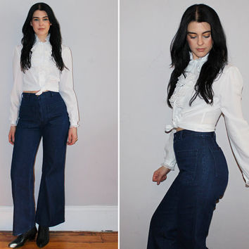 "Vintage 70s HIGH WAISTED Jeans / Dark Denim Bell Bottoms, Flares / SAILOR Pants / Boho, Groovy, Festival / Navdungaree / 26"" Small"