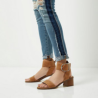 Brown oversized buckle sandals - Sandals - Shoes & Boots - women