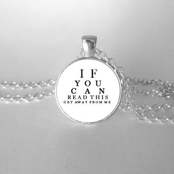 Rude Eye Test Necklace, Funny Pendant Jewelry, Eye Exam, Gag Gift, Get away from me