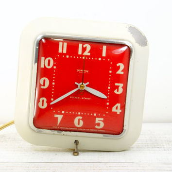 Wall Clock Red White Enamel - Ingraham Electric Kitchen Korner