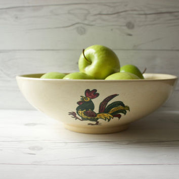Vintage Metlox Poppytrail California Provincial Green Rooster Large Salad Bowl | Mid-Century Modern | Country Cottage Style | Made in USA