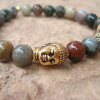 Buddha Bead Bracelet and Fancy Jasper,Semiprecious Stone, For Her,Handmade Jewelry