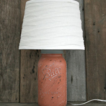 Mason Jar Lamp ~ Half-Gallon ~ Painted and Distressed ~ Country, Rustic, Farmhouse, Cottage Decor
