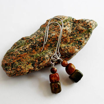 Stacked Stone Earrings Natural Jasper Stone Beads, Earthtone Colors, Wire Wrapped, Handmade Stainless Steel Earwires Jewelry by Hendywood