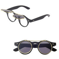 Sunglasses Flip Up Used Two-way Designer Retro Style Steampunk  Round Fashion Shades Men/Women/Teens  Eye Glasses