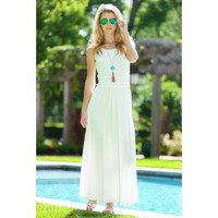 Nights In St. Lucia Maxi Dress-White