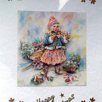 Christmas Card - Happy Christmas Hand-Crafted 3D Decoupage Card - Happy Christmas (1776)