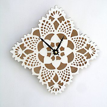 VALENTINES SALE white square doily clock