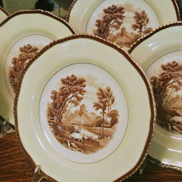 Antique Wood and Sons England The Grenville Polychrome Transferware Set Porcelain China Earthenware Cow Pasture Scene Scenic Landscape