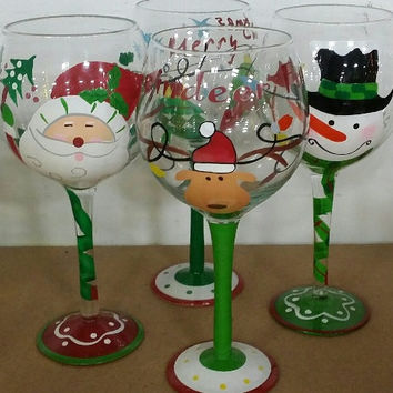 Holiday Wine Glasses, Cute Holiday Wine Glasses, Santa, Reinder, Snowman Inspired Holiday Characters Wine Glasses