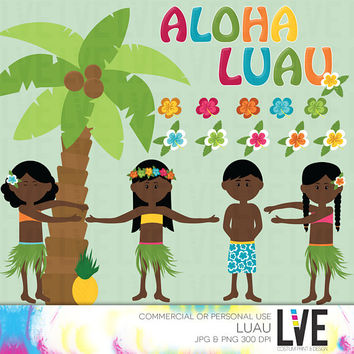 Hawaii Luau Party Clip Art Images, Graphics, Images, Digital Clipart Commercial or Personal Usage- Instant Download