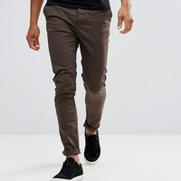 ASOS Skinny Chinos In Brown at asos.com