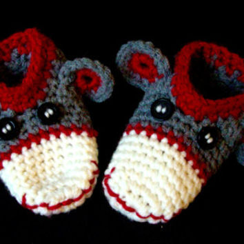 Sock Monkey Slippers Toddler Children Crochet
