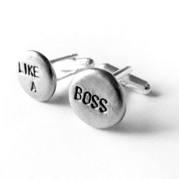 Like a Boss cuff links, mens cufflinks, mens gifts, mens accessories, mens wedding, graduation