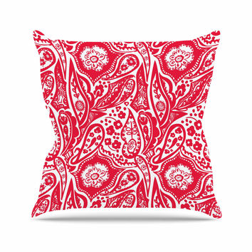 "Agnes Schugardt ""Paisley"" Paisley Red Throw Pillow"