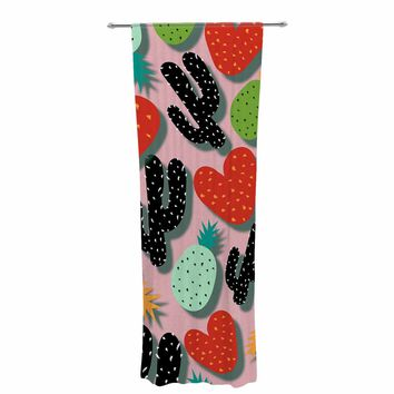 "SusanaPaz ""Cactus And Pineapples"" Pink Black Digital Decorative Sheer Curtain"