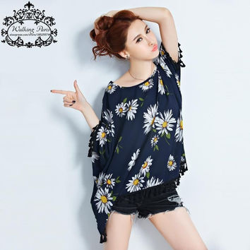 Plus Size Summer Women T-Shirt Floral Print Tops Fashion Tassel Batwing Sleeve T Shirt 4XL Big Size Loose Tumblr Tee Shirt Femme