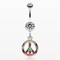 Rasta Stripe Peace Belly Ring