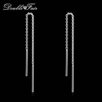 OL Style Long Line Chain Drop/Dangle Earrings Rose/White Gold Plated Fashion Brand Jewelry Strike Ear Cuff For Women DFE236