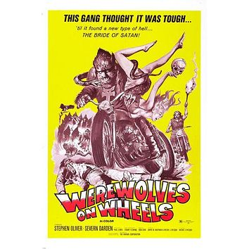 "movie poster WEREWOLVES ON WHEELS motorcyle gang ""BRIDE OF SATAN"" 24X36"