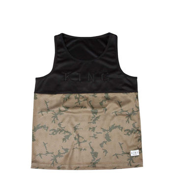 King Apparel - Letterman Basketball Tank - Black / Camo