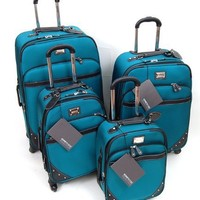 Kenneth Cole Reaction 4 Piece Luggage Set, Curve Appeal II Spinners. Color: Aqua