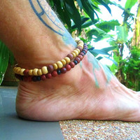 Wooden Beaded Anklets / Shambella Ankle Bracelet / 2 Unisex Beaded Anklets / Boho Anklet Set / Manklet / 2 Surfer Beaded Anklets / Anklet