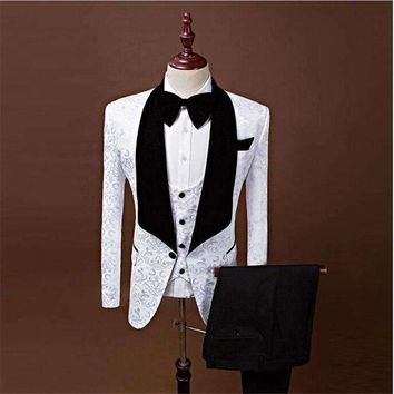 ONETOW (Jackets+Vest+Pants) 2018 New Men Suits Slim Custom Made Groom Tuxedo Fashion Business Dress Wedding red Suits Blazer