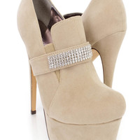 Beige Rhinestone Strap Ankle Booties Faux Suede