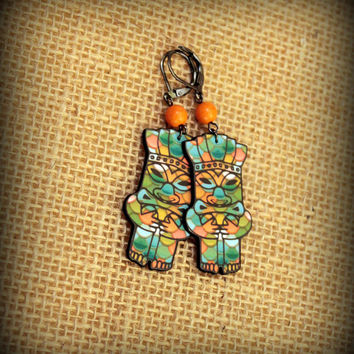 Mid Century Earrings - Hawaiian Tiki - Tiki God - Polynesian Tiki - Vintage Tiki - Cheeky Tiki - Tiki Oasis - Tropical Earrings - Tiki Art