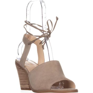 Nine West Yanka Lace Ankle Strap Sandals, Taupe, 10 US