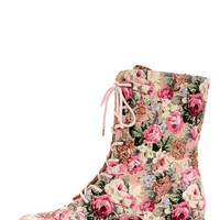 Wild Diva Lounge Madrid 10 Pink Floral Lace-Up Combat Boots