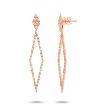 0.56ct 14k Rose Gold Diamond Ear Jacket Earring with Studs