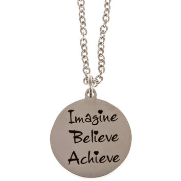 Stainless Steel Charm Necklace Imagine Believe Achieve