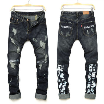 Men Ripped Holes Pants Slim Denim Jeans [10366812099]