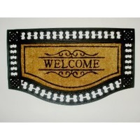 Welcome Interlock Border - Grill Mat with Brush Coir - Heavy Duty Outdoor Premium Coir and Rubber...
